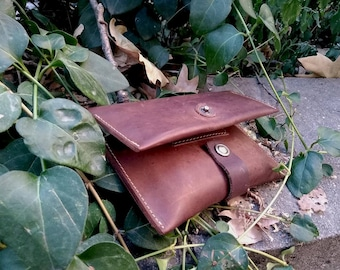Leather Tobacco pouch Leather brown wallet  Handcrafted leather pouch Leather tobacco wallet