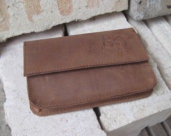 Leather Tobacco pouch Leather distressed wallet Handcrafted leather pouch Leather tobacco wallet in brown