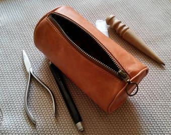 Leather case leather pencil case Leather roll leather pencil pouch Leather tools case Distressed leather pencils case