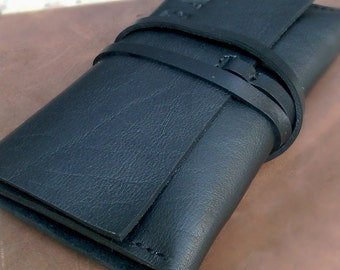 Leather Tobacco pouch Leather black wallet  Handcrafted leather pouch Leather tobacco wallet