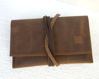 Leather Tobacco pouch Distressed leather wallet Handcrafted leather distressed pouch Tobacco wallets