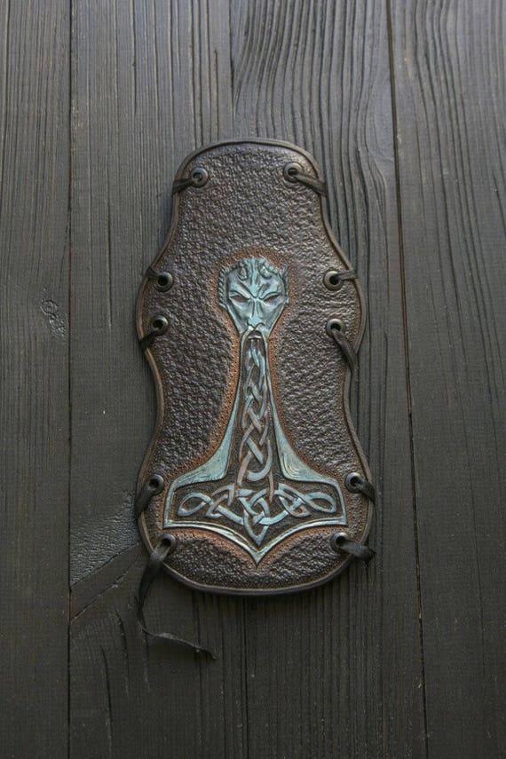 armor Mythology Thor Loki Viking LARP armor Ethnic hammer bracer Leather Mjolnir Odin bracer armlet Scandinavian Thor's Archer's fq5WyaTB