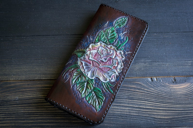b399243008b6 Ladies wallet - Large long leather wallet with carved Roses - Fantasy  Carved Flower Slim Woman Bifold wallet with Card holder