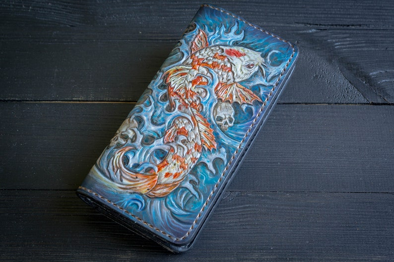 5f630932fa7e Blue wallet Leather Long Wallet Koi Fish Carp Fantasy Portmone Travel  wallet Money Holder Hand tooled leather Men's Woman Wallet