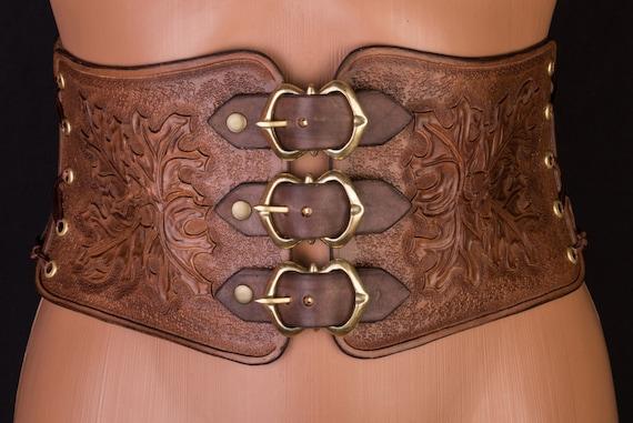 Corset ceinture médieval corset ceinture large en cuir marron   Etsy 90da7c24700
