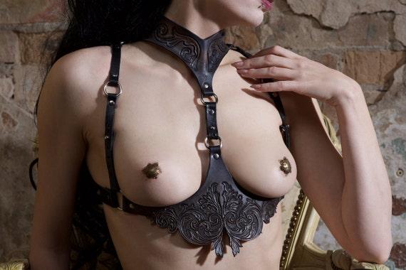 Neck Fetish Lingerie Costumes BDSM Collar Clothing Leather Fetish Larp Underbust Suspender Choker Body Women's Bondage Harness 0wzHP