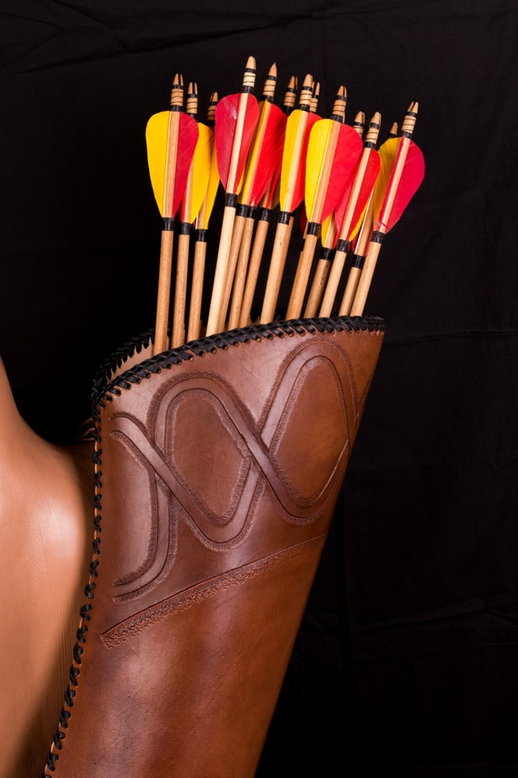 BROWN FINE LEATHER ARROW BACK//SIDE//HIP QUIVER ARCHERY PRODUCT AQ-143 2 IN 1