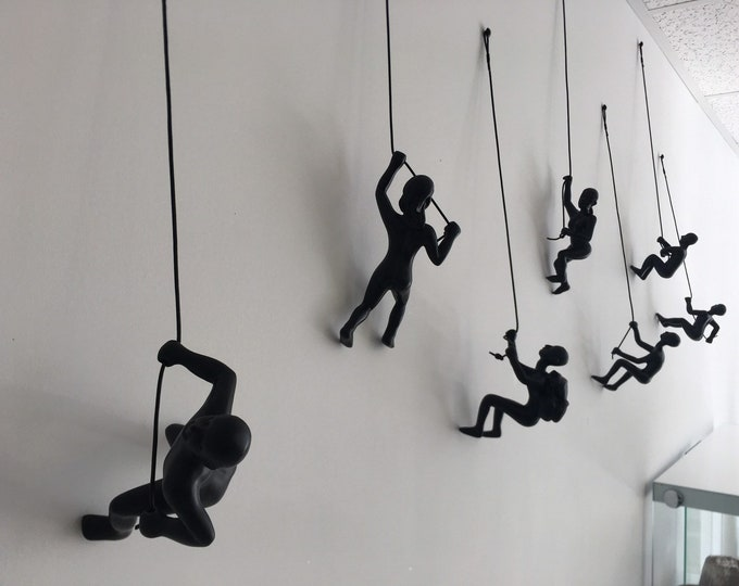 Featured listing image: 7 Piece Climbing Sculpture Wall Art Gift For Home Decor Interior Design Rock Climbing Man Contemporary Artwork woman Black