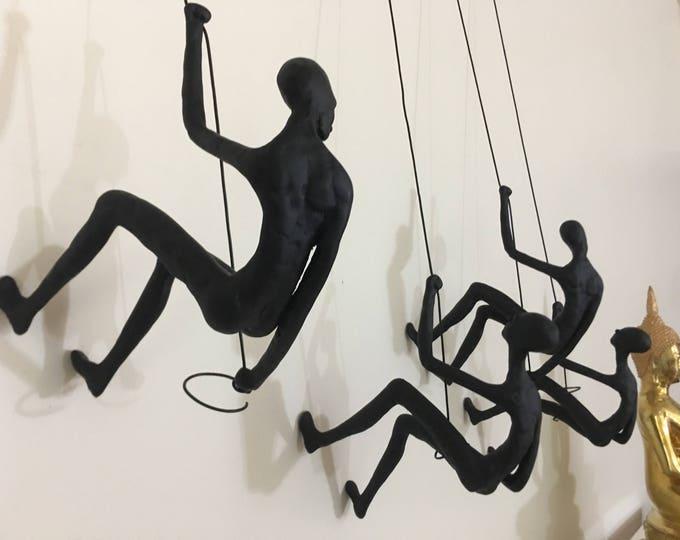 Featured listing image: 4 Piece Climbing Sculpture Wall Art Gift For Home Decor Interior Design Rock Climber Climbing Man Contemporary Artwork Resin Alian