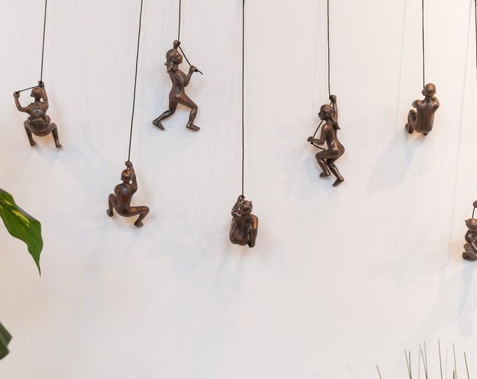 Featured listing image: 7 Piece Climbing Sculpture Wall Art Gift For Home Decor Interior Design Rock Climbing Man Contemporary Artwork woman Bronze