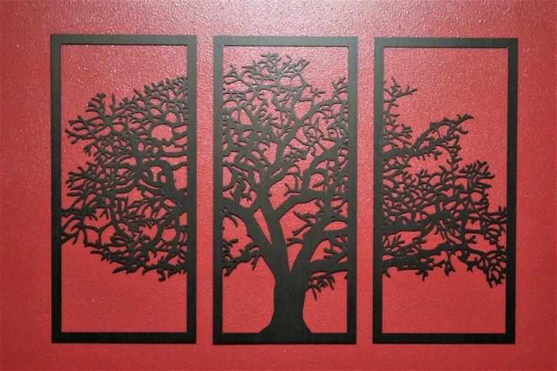 Tree Of Life Ebony 3 Panel Tree Wood Wall Art Wall Hanging House Warming Gift