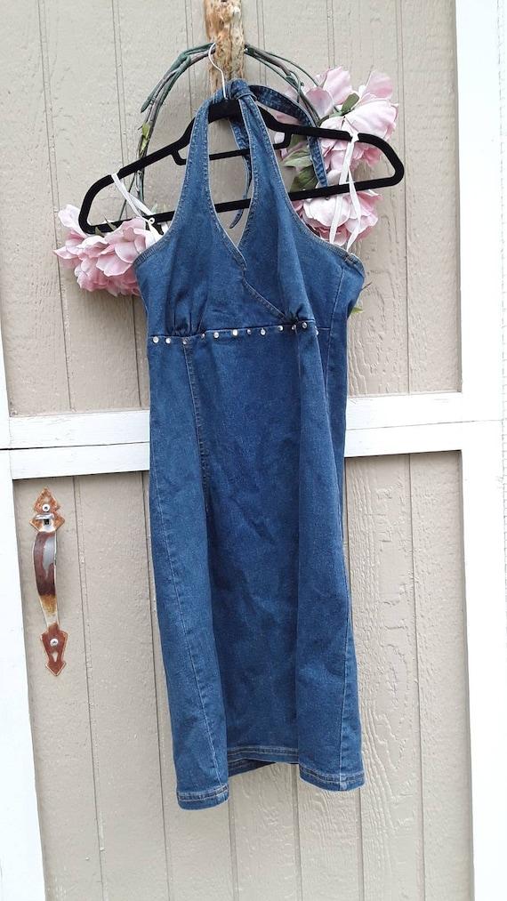 Upcycled denim halter dress, vintage boho