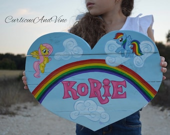 My Little Pony Inspired-Heart-Personalized-Name Sign-Pallet Wood-Girls Room-Baby Girl-Pallet Board-Shabby Cottage Chic-