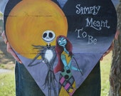 Pallet Wood Sign - Nightmare Before Christmas Inspired - Art - Jack Skellington - Sally - Pallet Wall Art - Hand Painted - Heart Sign