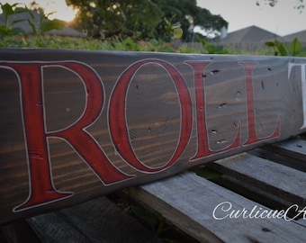 University of Alabama-Crimson Tide-Roll Tide- Wall Art-Rustic Barnwood Decor-Man Cave-Shabby-Reclaimed Wood-Hand Painted