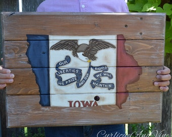 Iowa State Flag-Pallet Board-Rustic Barnwood Decor-Man Cave-Flags-Shabby-Reclaimed Wood-Hand Painte