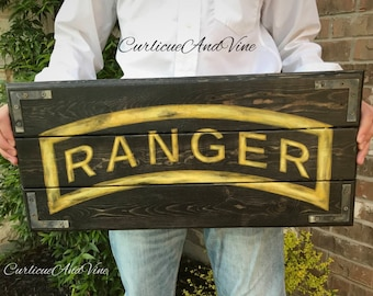 United States-Army-Ranger Tab-Military-Soldier-Wall Art-Rustic Barnwood Decor-Man Cave-Reclaimed Wood-Hand Painted