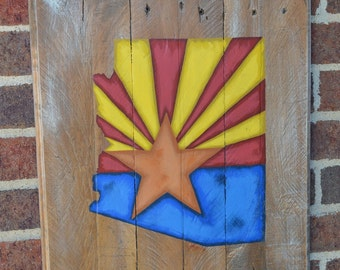 Arizona State Flag - Wood Sign-Pallet Board-Rustic Barnwood Decor-Man Cave-Flags-Shabby-Reclaimed Wood-Hand Painte