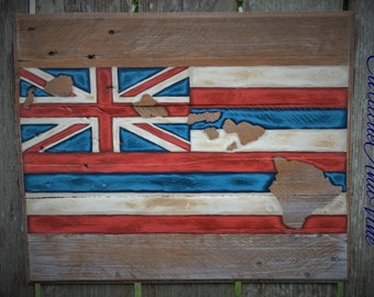Hawaii State Flag - Pallet Board Sign-Pallet Board-Rustic Barnwood Decor-Man Cave-Flags-Shabby-Reclaimed Wood-Hand Painte