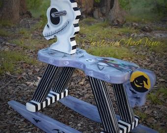 Nightmare Before Christmas Inspired-Baby-Nursery-Rocking Horse - Art - Hand Painted - Jack Skellington - Sally Skellington-Baby-Boy-Girl