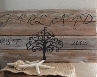 """Personalized Pallet Wood Sign -Wedding Gift -""""Tree Of Life""""-Pallet Board-Rustic Barnwood Decor-Shabby-Reclaimed Wood-Hand Painted"""