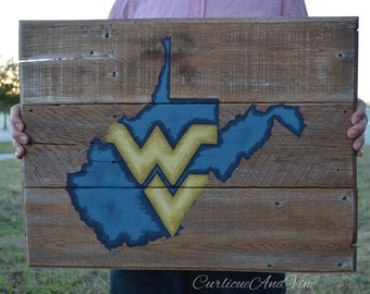 West Virginia University-Pallet Board-Pallet Wall Art-Rustic Barnwood Decor-Man Cave-Flags-Shabby-Reclaimed Wood-Hand Painted