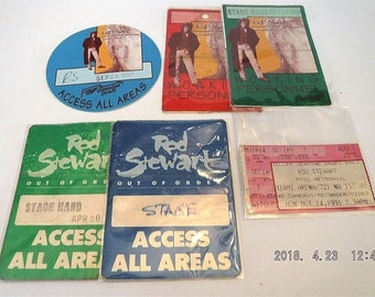 5 Rod Stewart Access Passes 1989-91   Concert Ticket 1991. Used by Worker  Asstd Tours 6b43199c3e82