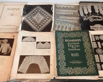 1915 Assorted Lot of Vintage Pages of Crochet. Filet Crochet, Odds N End Pages. See Pictures For Details