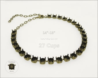 1 pc.+ 27 Cups, SS39 (8mm) Empty Cup Chain for Necklace - Antique Brass color