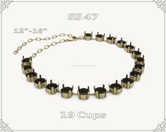 1 pc.+ 19 Cups, SS47 Empty Cup Chain for Necklace - Antique Brass Color