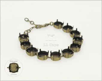 1 pc.+ 11 Cups, 12mm Empty Cup Chain for Bracelet - Antique Brass color