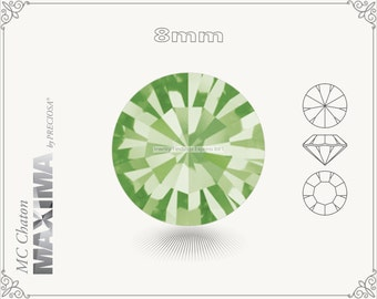 6 pc.+ SS39 (8mm) Preciosa MC Chaton MAXIMA - Peridot Color