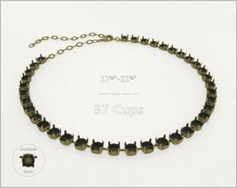 1 pc.+ 37 Cups, SS39 (8mm) Empty Cup Chain for Necklace - Antique Brass color