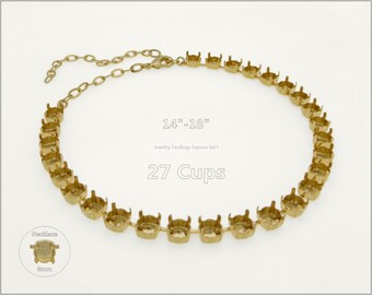 1 pc.+ 27 Cups, SS39 (8mm) Empty Cup Chain for Necklace - Gold color