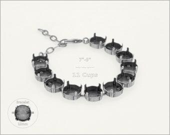 1 pc.+ 11 Cups, 12mm Empty Cup Chain for Bracelet - Antique Silver color