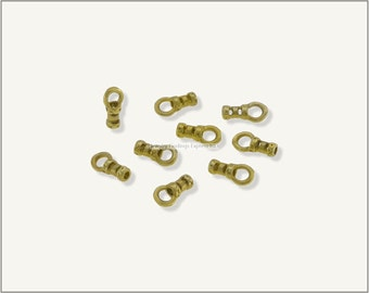 10 pc.+  1mm Crimp End Cap, Crimp Ends, Cord Ends for Leather Cords & Chains - Raw Brass