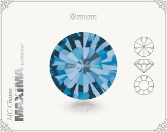 6 pc.+ SS39 (8mm) Preciosa MC Chaton MAXIMA - Indicolite Color