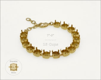 1 pc.+ 15 Cups, SS39 (8mm) Empty Cup Chain for Bracelet - Gold color