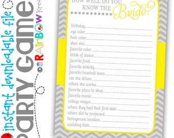GAME1-803: DIY - Gray and Yellow Bridal Shower Party Game - Instant Downloadable File