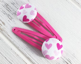 Heart hair clips, girls heart hair clips, little girl gift, snap clips, button hair clips, baby hair clips, toddler hair clips, Valentines
