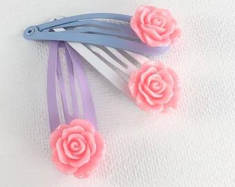 Rose Hair Clips, Girls Hair Clip, Floral Hair Clips, Snap Clips, Pink Rose Hair Clip, Girls Hair Accessory, Baby Hair Clips, Flower girl