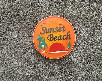 Sunset Beach Sign - Photo on Wood