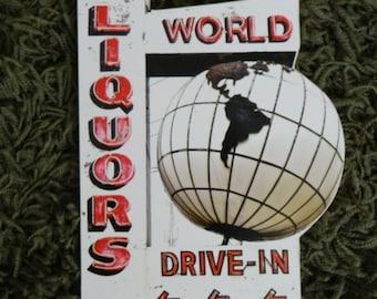 World Liquors Sign - Photo on Wood