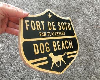 Fort Desoto Dog Beach Sign - Photo on Wood
