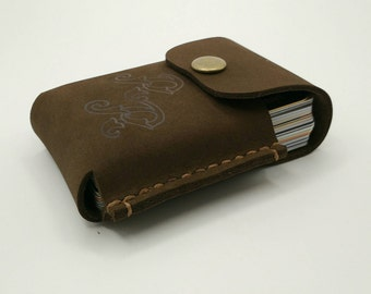Leather credit card wallet, holder, board game card organiser, hand stitched, cigarette pack cover, brown nubuck leather case, personalised
