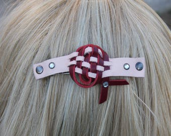 Genuine Leather French hair barrette, Leather Hair clip, women Hair Accessory, hair fashion, pink leather accessory