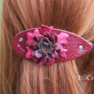 Red Rose Leather French hair barrette Ponytail Holder triangle red flower women Hair Accessory Hand embossed Leather Hair Clip