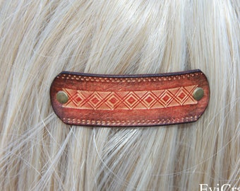 Leather French hair barrette, Hand  Tooled dyed Leather Hair Clip, women Hair Accessory, orange brown, hair fashion, leather accessory