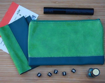 Green Genuine Leather Passport Cover,  makeup case, Travel Wallet, Passport Holder, cosmetic bag, Travel Gift, toiletry storage, pencil case