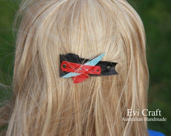 Genuine Leather French hair barrette black Leather Hair clip women Accessory kids hair clip black blue red dots Ponytail Holder